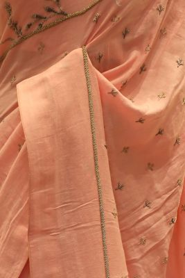 Peach Bead Embroidered Linen Saree-SR25684