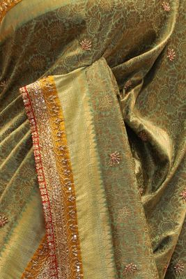 Paris Green & Brown Zardosi Embroidered Tussar Silk Saree-SR25685