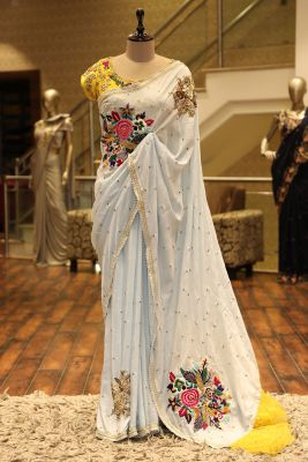 Alice Blue Cutdana Embroidered Silk Saree-SR25686