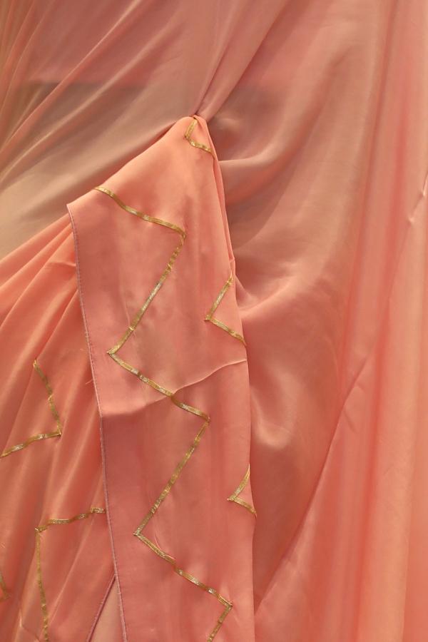 Light Pink Gota Embroidered Crepe Saree-SR25688