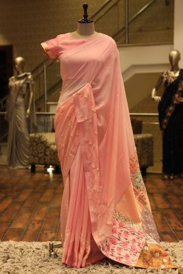 Light Pink Gota Embroidered Crepe Saree-SR25688