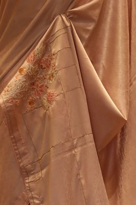 Rosequartz Brown Resham Embroidered Korean Crepe Saree-SR25689