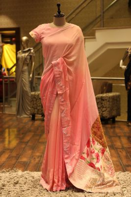 Pink Shaded Zari Embroidered Crepe Saree-SR25690