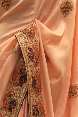 Salmon Pink Thread Embroidered Silk Saree-SR25692