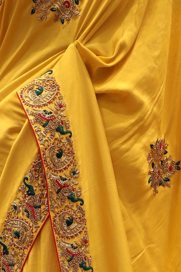 Funugreek Yellow Sequins Embroidered Silk Saree-SR25693