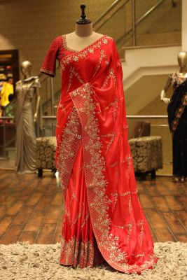 Candy Red Gota Embroidered Satin Saree-SR25694