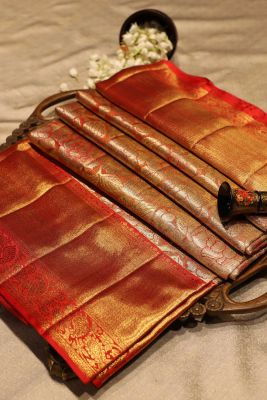 Orange & Gold Zari Woven Kanchipuam Silk Saree-SR25696