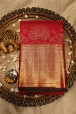 Pink & Red Dual Tone Zari Woven Kanchipuram Silk Saree-SR25698