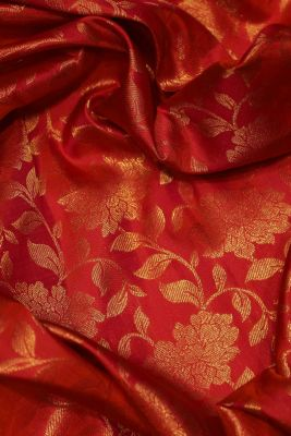 Pink & Orange Dual Tone Zari Woven Kanchipuram Silk Saree-SR25701