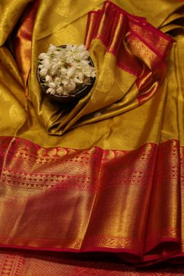 Citrine Yellow Zari Woven Kanchipuram Silk Saree-SR25702
