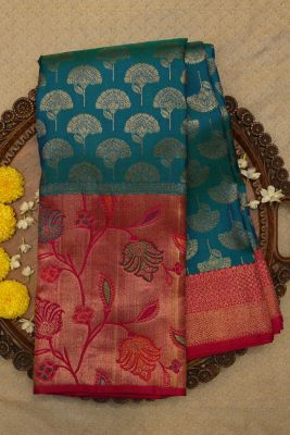 Blue & Green Dual Shade Zari Woven Kanchipuram Silk Saree-SR25719