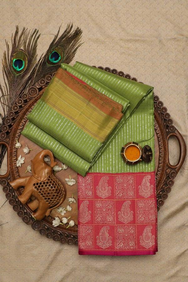 Pear Green Zari Woven Kanchipuram Silk Saree-SR25723