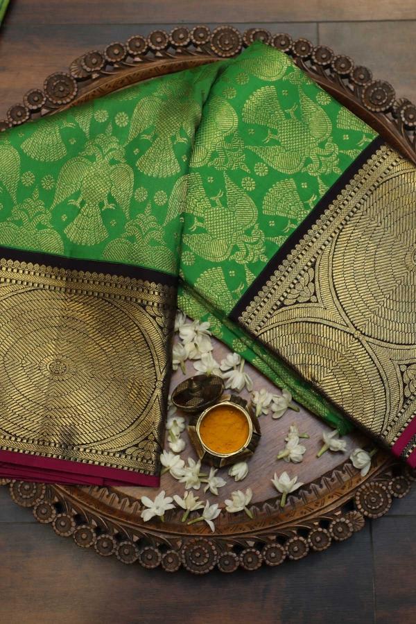 Shamrock Green Zari Woven Kanchipuram Silk Saree-SR25727