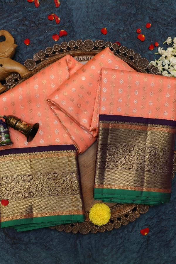 Peach Zari woven Kanchipuram Silk Saree-SR25731