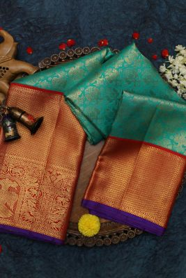 Sea Green Zari woven Kanchipuram Silk Saree-SR25733