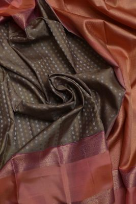 Taupe Brown Zari woven Kanchipuram Silk Saree-SR25735