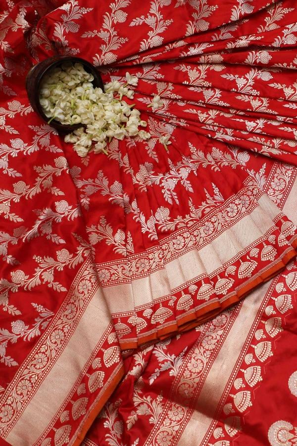 Bright Red Zari Woven Banarasi Silk Saree-SR25747