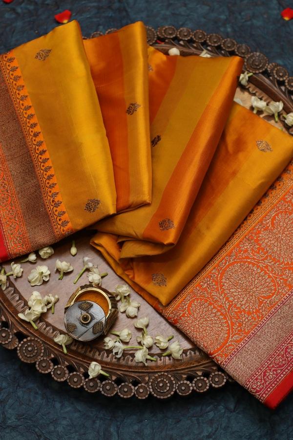 Mustard Yellow & Orange Zari Woven Banarasi Silk Saree-SR25750