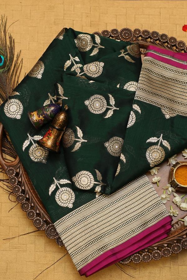 Bottle Green Zari Woven Banarasi Silk Saree-SR25774