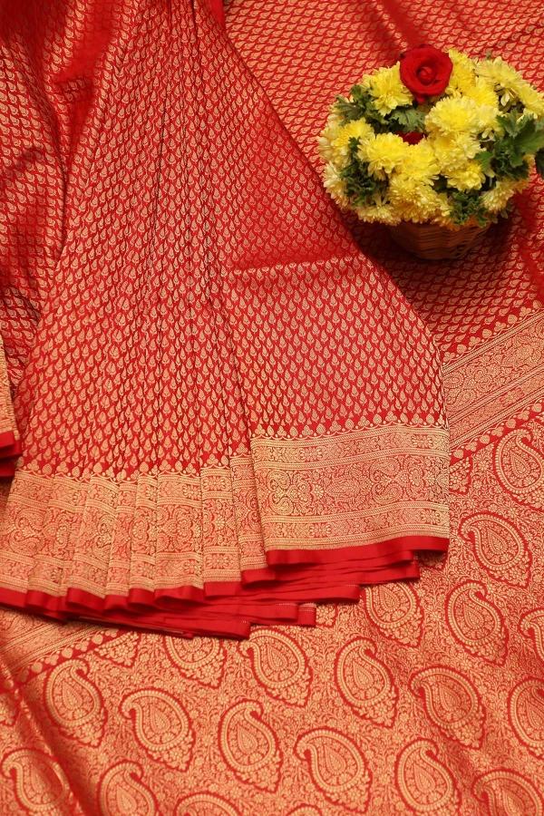 Candy Red Zari woven Banarasi Silk Saree-SR25798