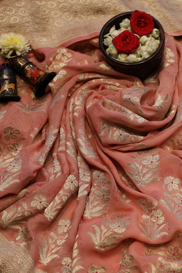 Peach Zari Woven Banarasi Georgette Saree-SR25829