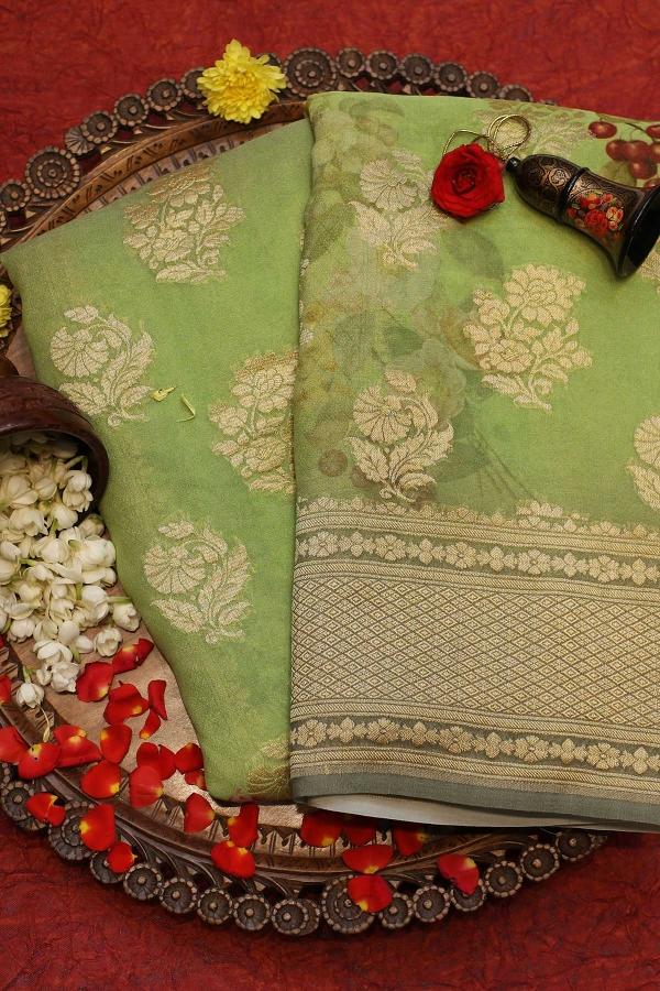 Pistachio Green Zari Woven Banarasi Georgette Saree-SR25838