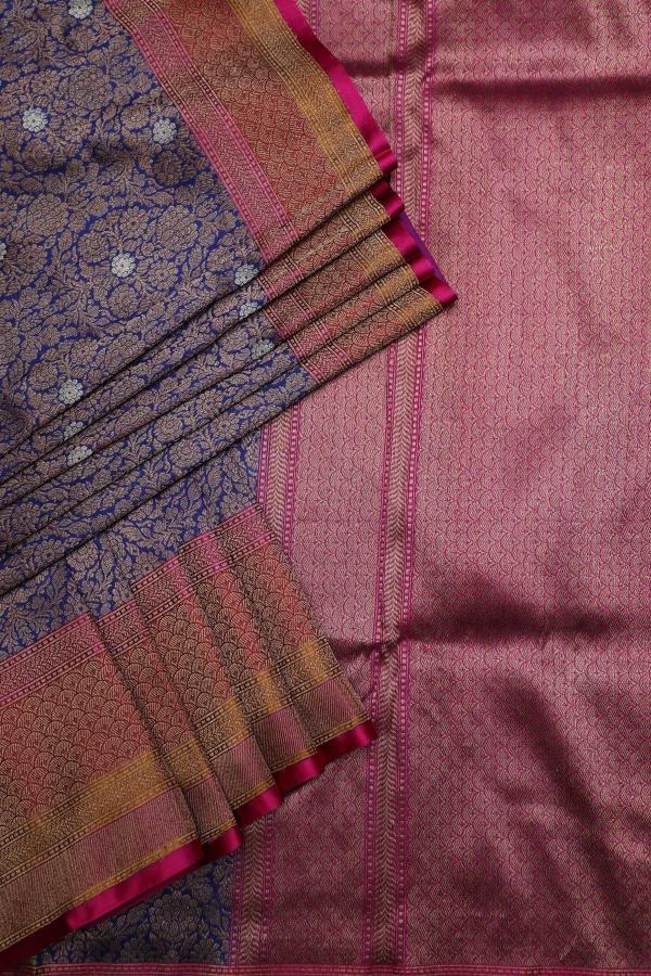 Indigo Blue Zari woven Banarasi Silk Saree-SR25922