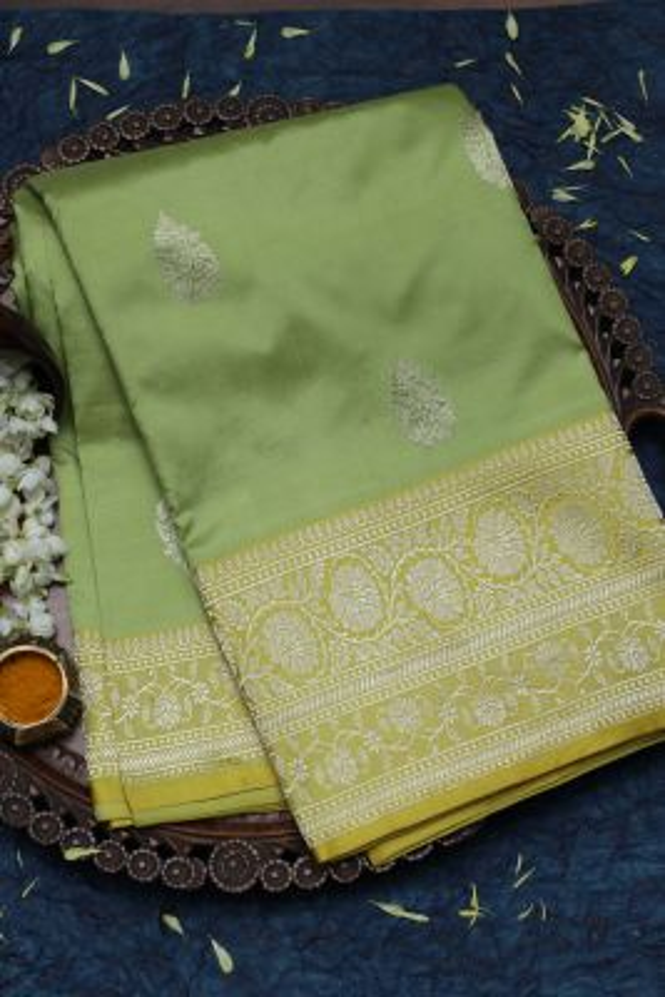 Pistachio Green Zari woven Banarasi Silk Saree-SR25924