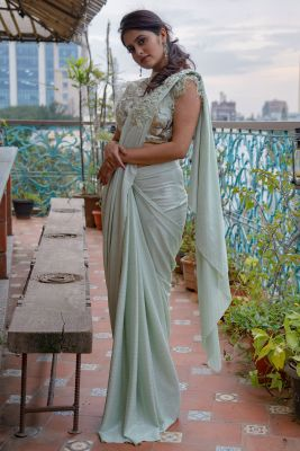 Powder Green Pearl Embroidered Lycra Saree-SR26015