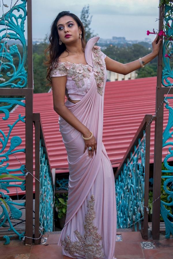 Powder Pink Sequins Embroidered Lycra Saree-SR26016