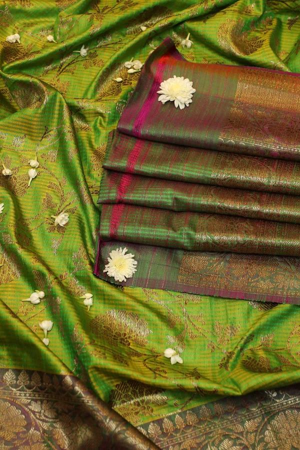Kelly Green Zari Woven Banarasi Silk Saree-SR26122