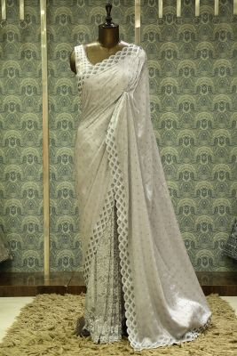 Light Grey Stone Embroidered Satin Saree-SR26183
