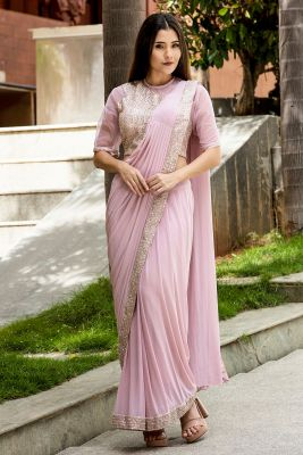 Blush Pink Mirror Embroidered Lycra Saree-SR26186