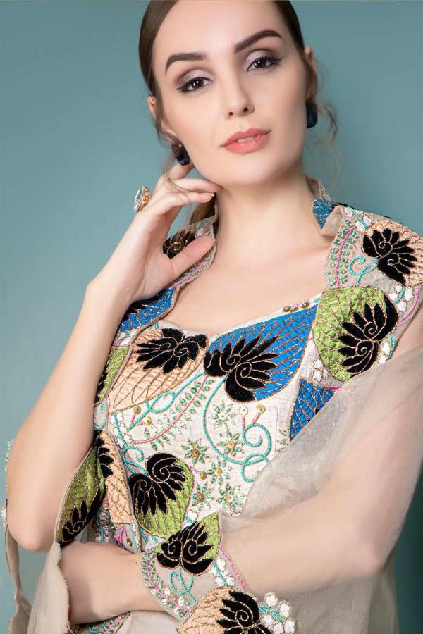 Beige Thread Embroidered Lycra Saree-SR26217