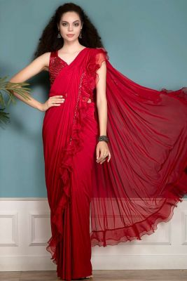 Tomato Red Sequins Embroidered Lycra Saree-SR26219