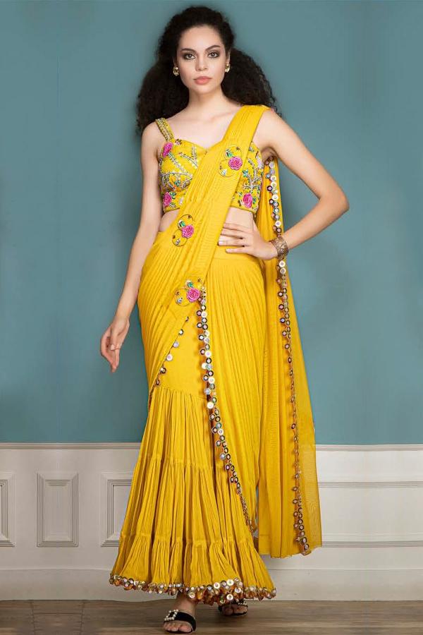 Corn Yellow Applique Embroidered Lycra Saree-SR26221