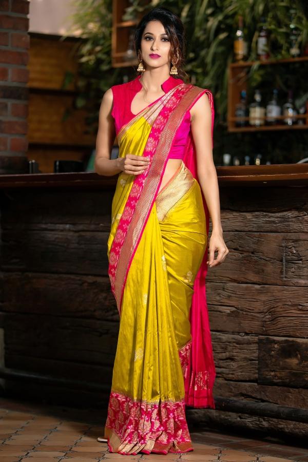 Golden Yellow Zari woven Banarasi Silk Saree-SR26222