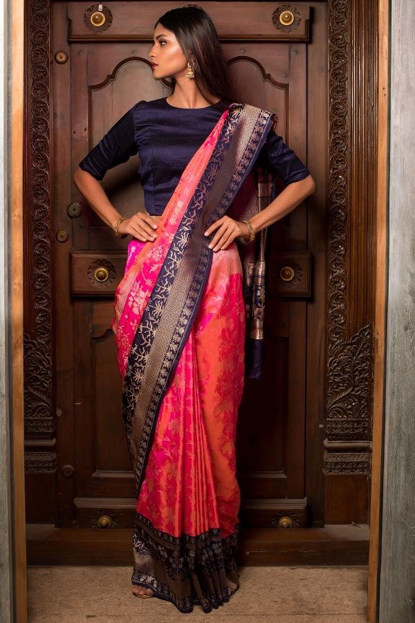 Hot Pink Zari woven Banarasi Silk Saree-SR26224