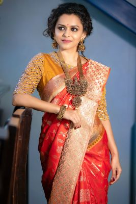 Bright Orange Zari woven Banarasi Silk Saree-SR26227